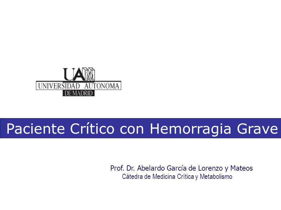 Prof. Dr. Abelardo García de Lorenzo y Mateos Cátedra de Medicina Crítica y Metabolismo Paciente Crítico con Hemorragia Grave