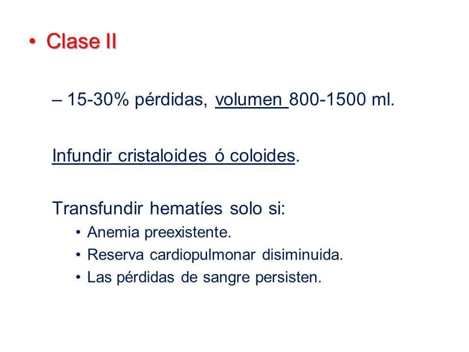 Clase IIClase II –15-30% pérdidas, volumen 800-1500 ml. Infundir cristaloides ó coloides. Transfundir hematíes solo si: Anemia preexistente. Reserva c