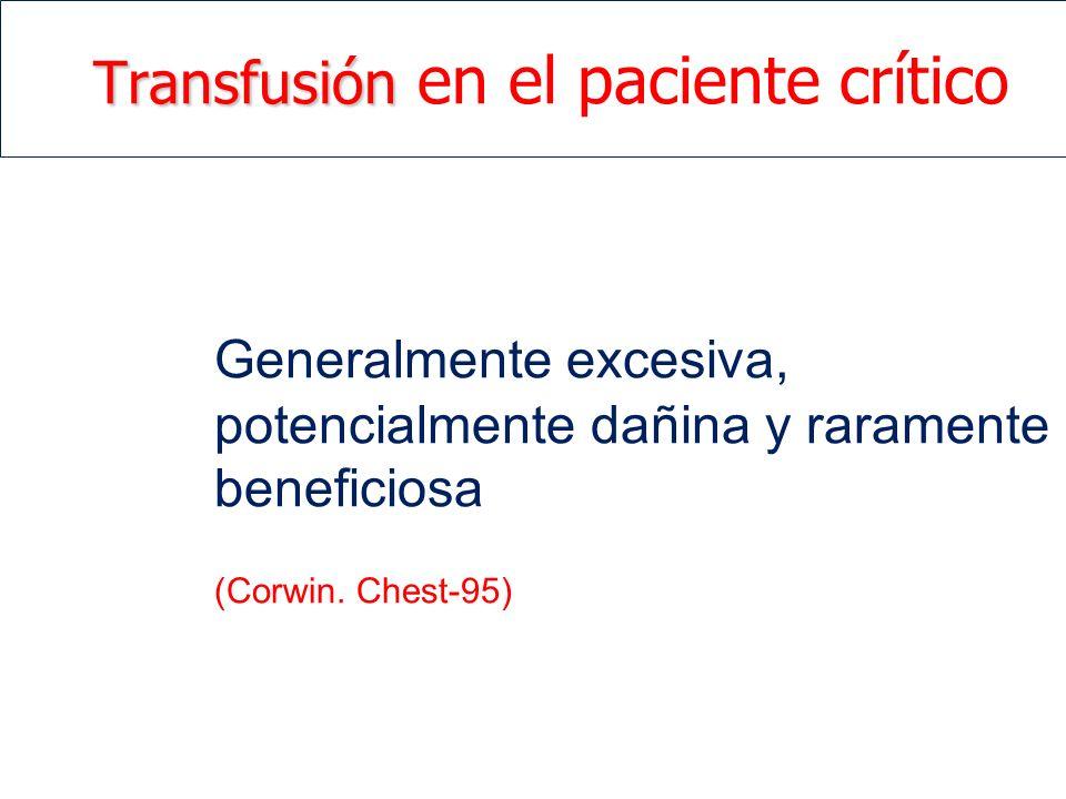 Transfusión Transfusión en el paciente crítico Generalmente excesiva, potencialmente dañina y raramente beneficiosa (Corwin. Chest-95)