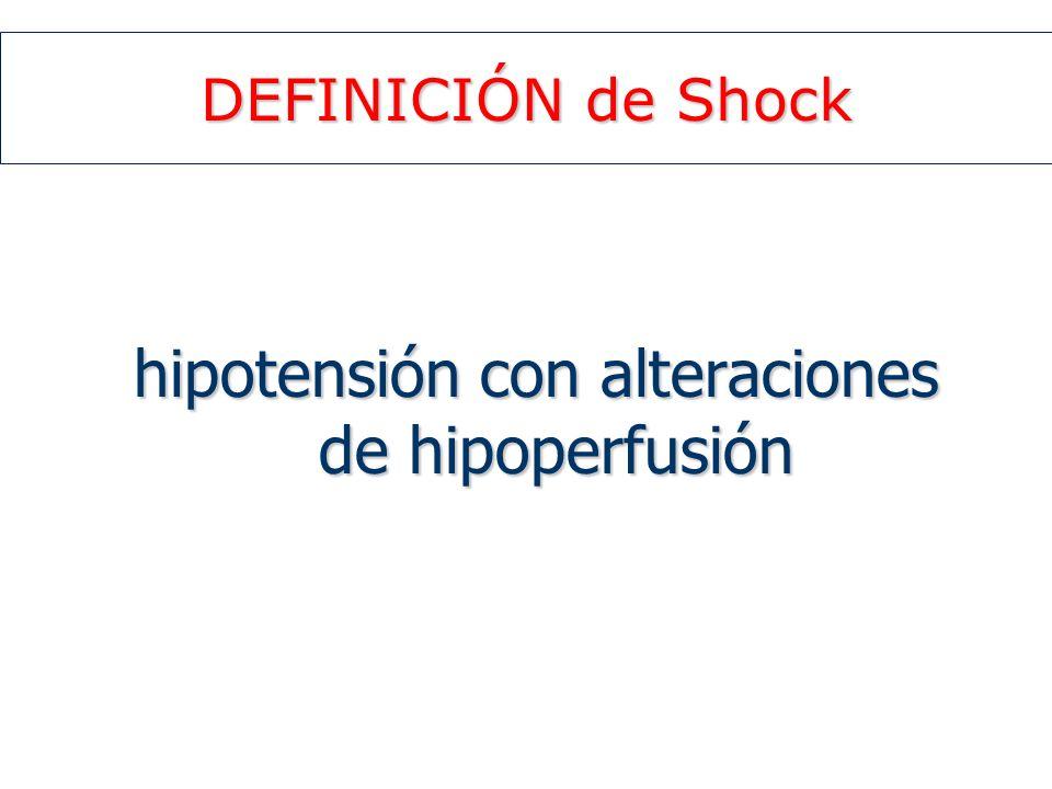 DEFINICIÓN de Shock hipotensión con alteraciones de hipoperfusión