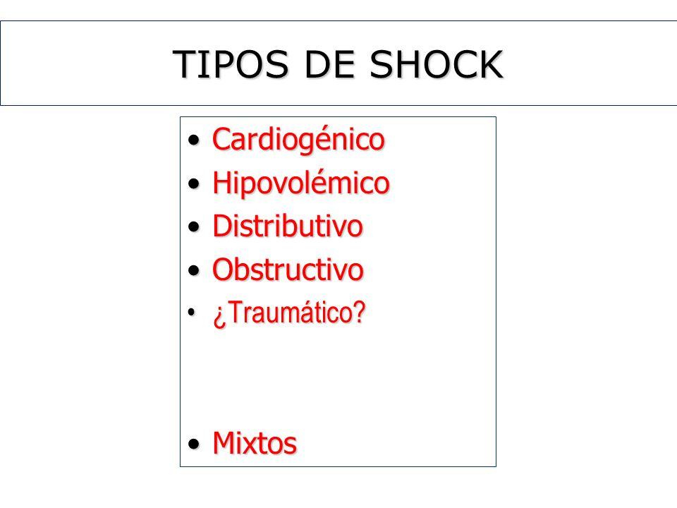 TIPOS DE SHOCK CardiogénicoCardiogénico HipovolémicoHipovolémico DistributivoDistributivo ObstructivoObstructivo ¿Traumático?¿Traumático? MixtosMixtos