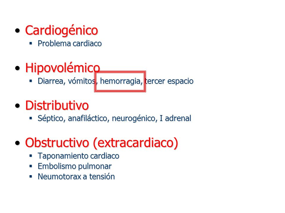 CardiogénicoCardiogénico Problema cardiaco Problema cardiaco HipovolémicoHipovolémico Diarrea, vómitos, hemorragia, tercer espacio Diarrea, vómitos, h