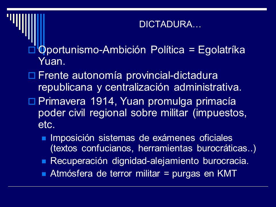 DICTADURA… Oportunismo-Ambición Política = Egolatríka Yuan. Frente autonomía provincial-dictadura republicana y centralización administrativa. Primave