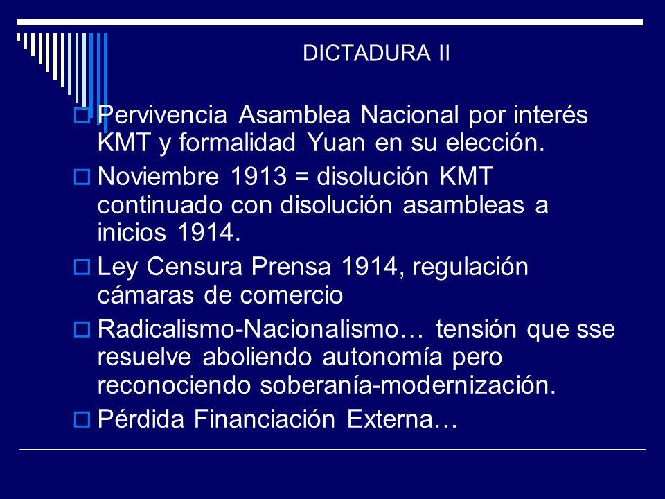 DICTADURA II Pervivencia Asamblea Nacional por interés KMT y formalidad Yuan en su elección. Noviembre 1913 = disolución KMT continuado con disolución