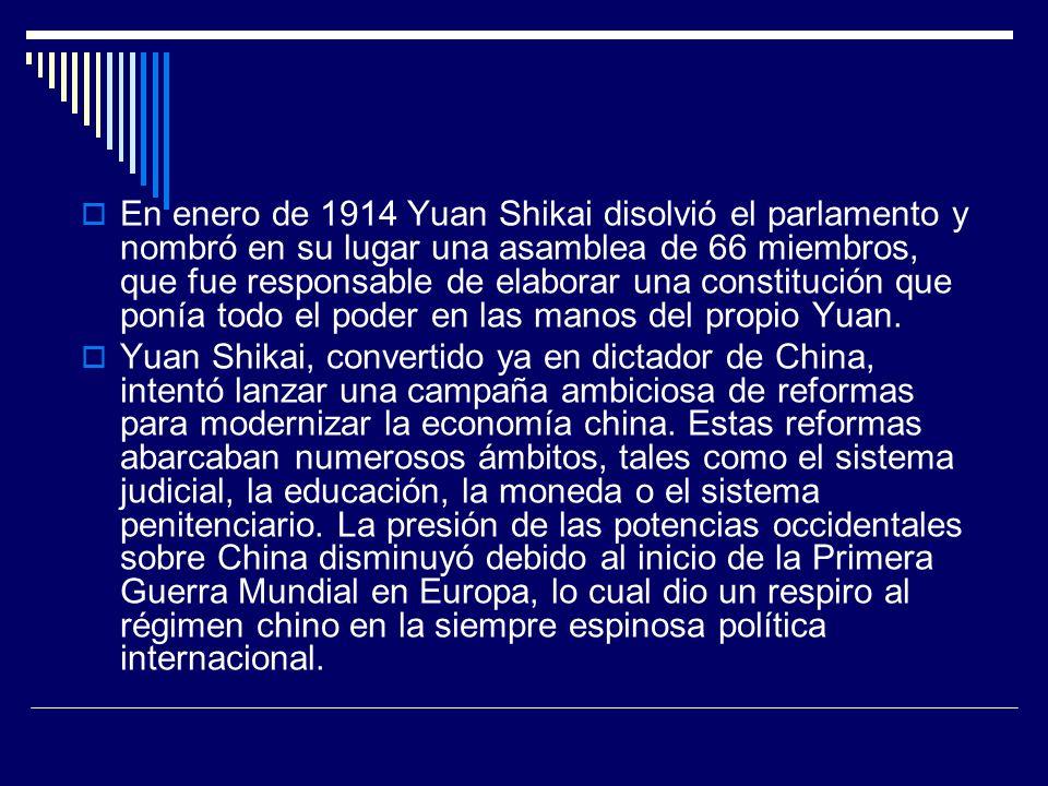 En enero de 1914 Yuan Shikai disolvió el parlamento y nombró en su lugar una asamblea de 66 miembros, que fue responsable de elaborar una constitución