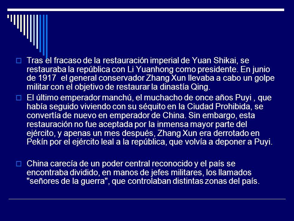 Tras el fracaso de la restauración imperial de Yuan Shikai, se restauraba la república con Li Yuanhong como presidente. En junio de 1917 el general co