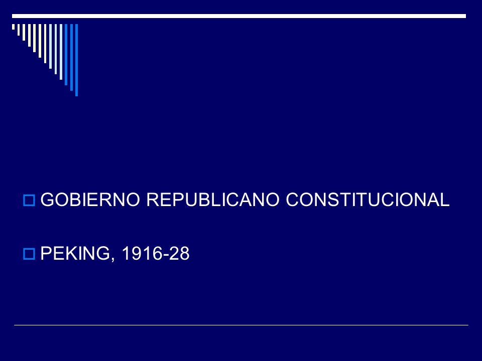 GOBIERNO REPUBLICANO CONSTITUCIONAL PEKING, 1916-28