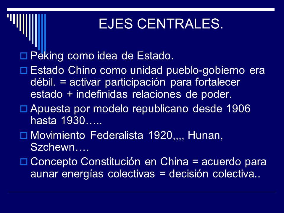 EJES CENTRALES. Peking como idea de Estado. Estado Chino como unidad pueblo-gobierno era débil. = activar participación para fortalecer estado + indef