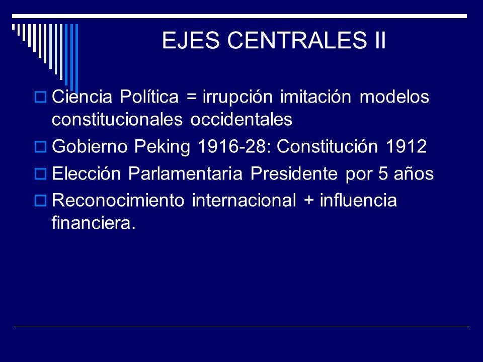 EJES CENTRALES II Ciencia Política = irrupción imitación modelos constitucionales occidentales Gobierno Peking 1916-28: Constitución 1912 Elección Par