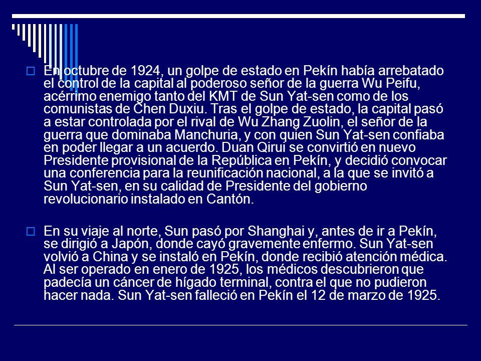 En octubre de 1924, un golpe de estado en Pekín había arrebatado el control de la capital al poderoso señor de la guerra Wu Peifu, acérrimo enemigo ta