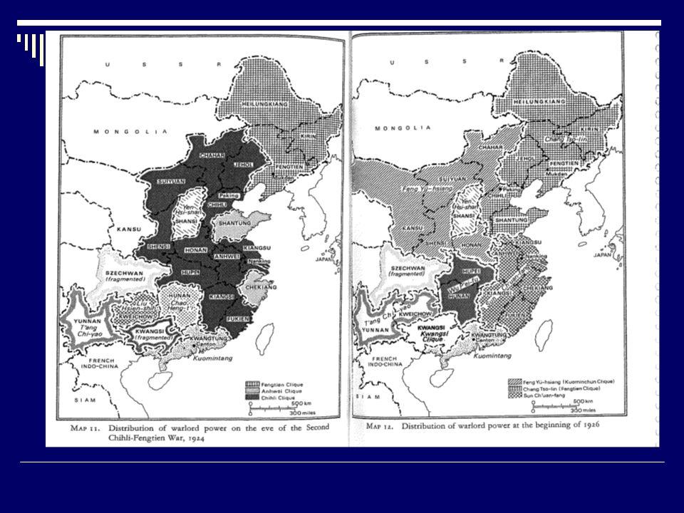 SEÑORES DE GUERRA Y SOCIEDAD CHINA El establecimiento del nuevo gobierno del KMT en Nankín dividió a este partido entre la facción izquierdista, establecida en Wuhan y favorable a colaborar con los comunistas, y la facción leal a Chiang, que, instalado ya en Nankín, se oponía a cualquier tipo de colaboración con los comunistas.