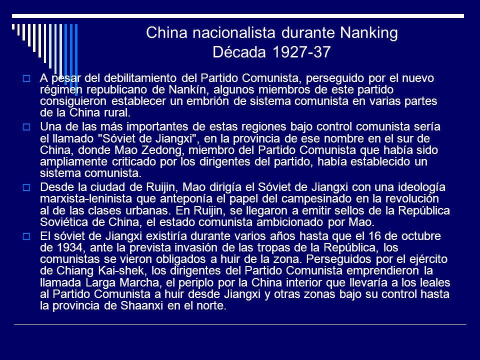China nacionalista durante Nanking Década 1927-37 A pesar del debilitamiento del Partido Comunista, perseguido por el nuevo régimen republicano de Nan