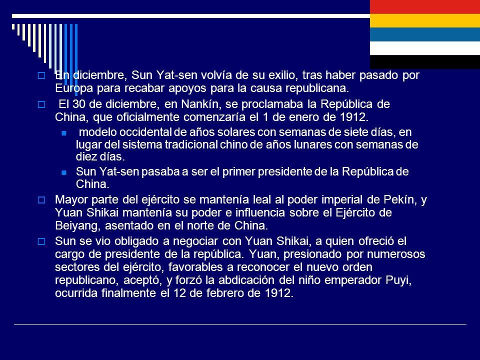 En diciembre, Sun Yat-sen volvía de su exilio, tras haber pasado por Europa para recabar apoyos para la causa republicana. El 30 de diciembre, en Nank