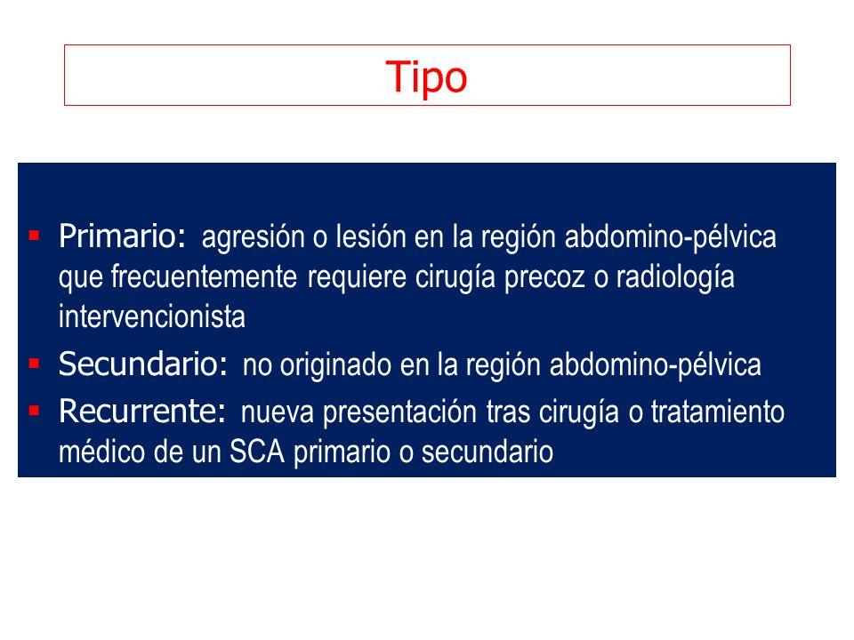 Tipo Primario: agresión o lesión en la región abdomino-pélvica que frecuentemente requiere cirugía precoz o radiología intervencionista Secundario: no