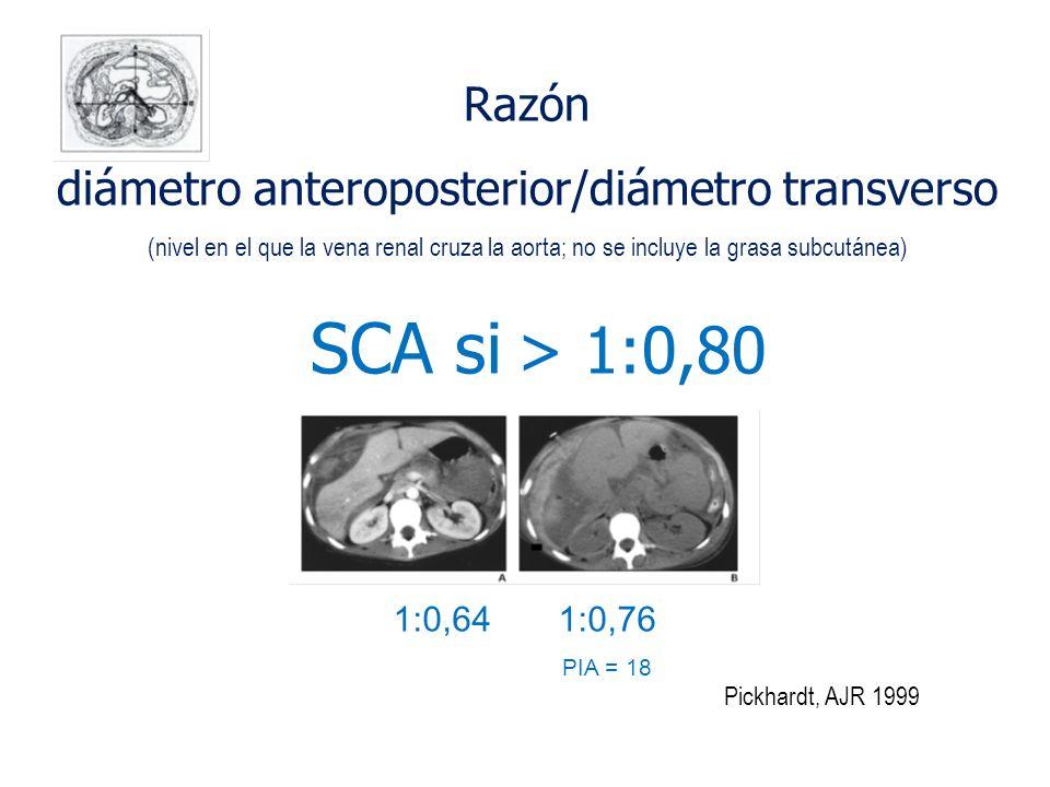 Pickhardt, AJR 1999 Razón diámetro anteroposterior/diámetro transverso (nivel en el que la vena renal cruza la aorta; no se incluye la grasa subcutáne