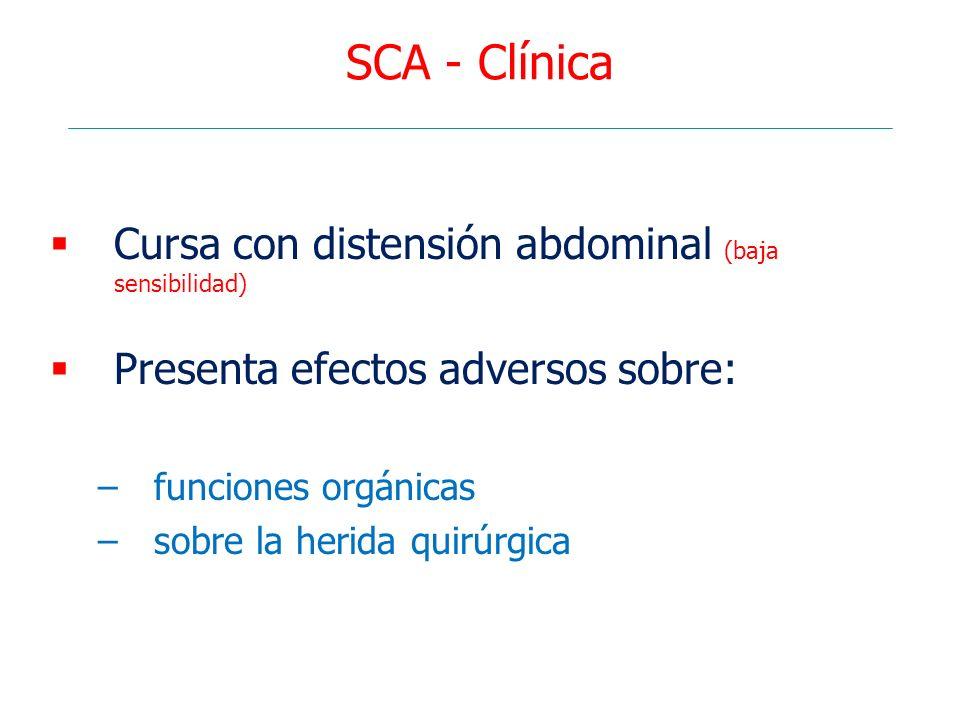 SCA - Clínica Cursa con distensión abdominal (baja sensibilidad) Presenta efectos adversos sobre: –funciones orgánicas –sobre la herida quirúrgica