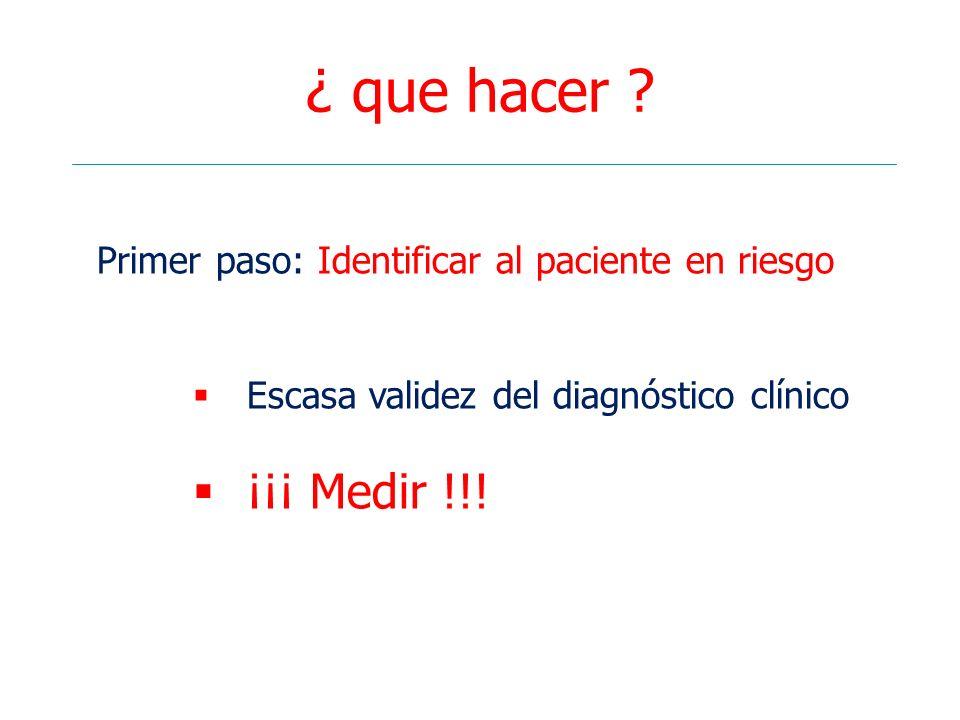 ¿ que hacer ? Primer paso: Identificar al paciente en riesgo Escasa validez del diagnóstico clínico ¡¡¡ Medir !!!