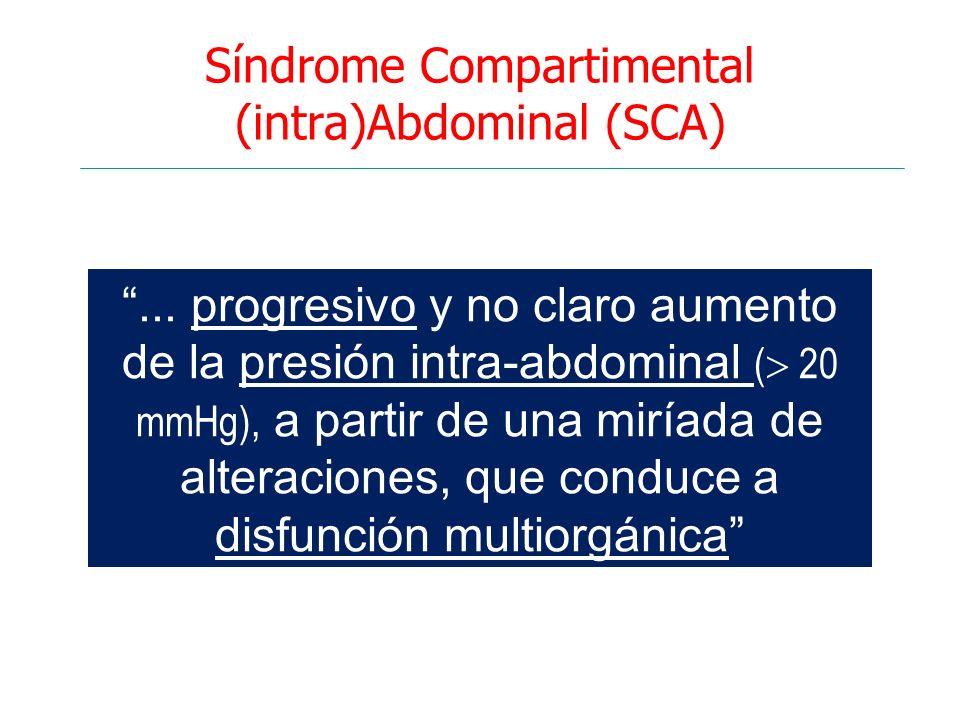 Síndrome Compartimental (intra)Abdominal (SCA)... progresivo y no claro aumento de la presión intra-abdominal ( 20 mmHg), a partir de una miríada de a