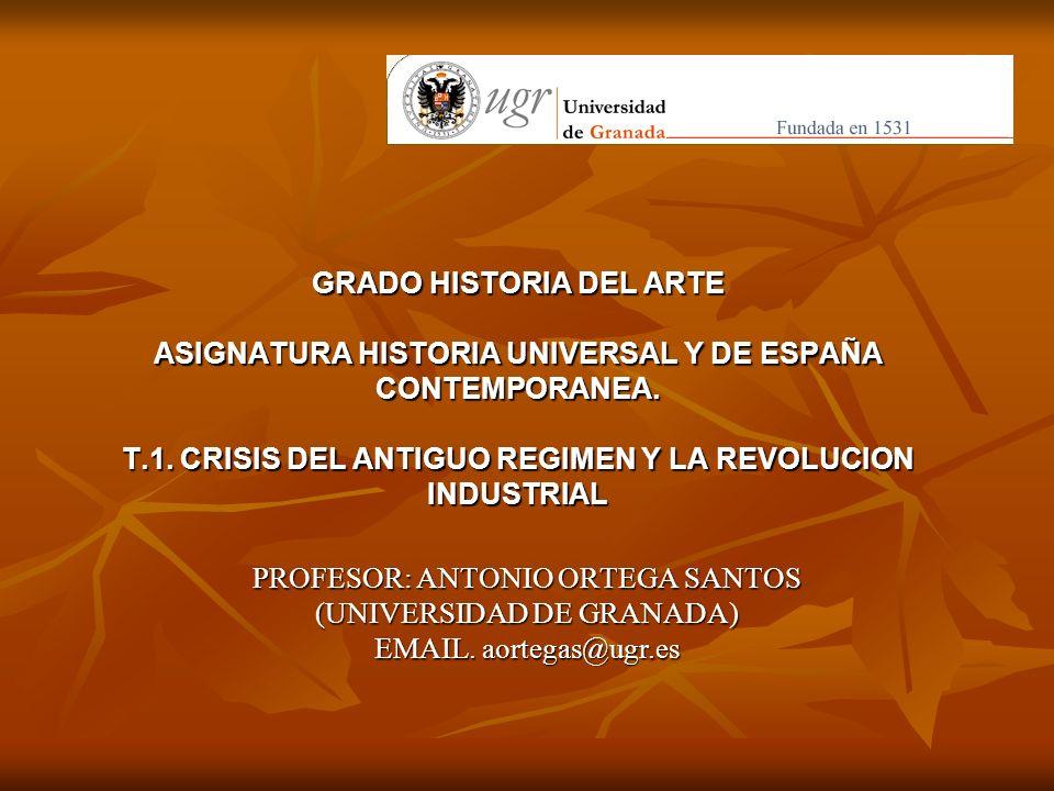 GRADO HISTORIA DEL ARTE ASIGNATURA HISTORIA UNIVERSAL Y DE ESPAÑA CONTEMPORANEA. T.1. CRISIS DEL ANTIGUO REGIMEN Y LA REVOLUCION INDUSTRIAL PROFESOR: