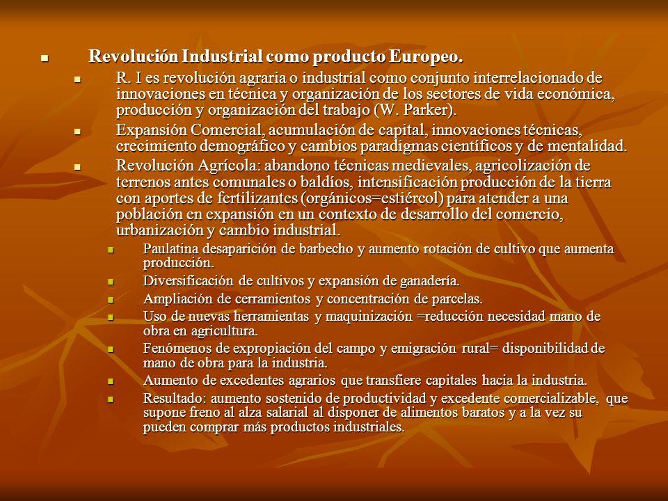 Revolución Industrial como producto Europeo. Revolución Industrial como producto Europeo. R. I es revolución agraria o industrial como conjunto interr