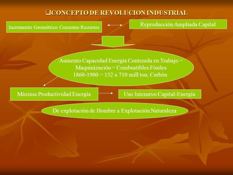 CONCEPTO DE REVOLUCION INDUSTRIAL CONCEPTO DE REVOLUCION INDUSTRIAL Reproducción Ampliada Capital Incremento Geométrico Consumo Recursos Aumento Capac