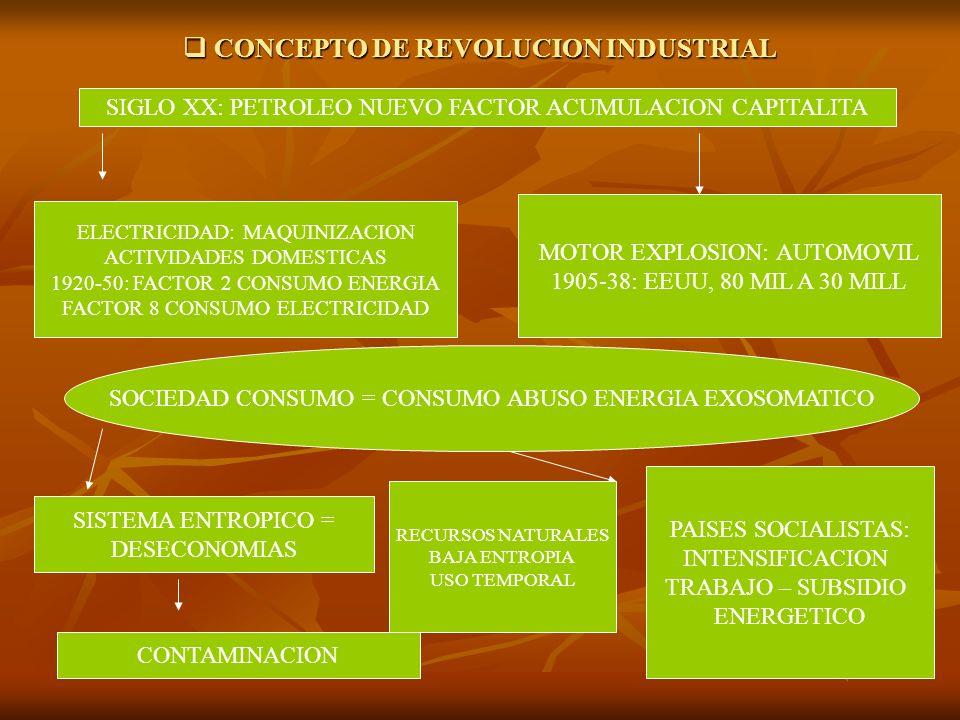 CONCEPTO DE REVOLUCION INDUSTRIAL CONCEPTO DE REVOLUCION INDUSTRIAL SIGLO XX: PETROLEO NUEVO FACTOR ACUMULACION CAPITALITA ELECTRICIDAD: MAQUINIZACION