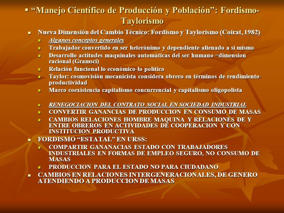 Manejo Científico de Producción y Población: Fordismo- Taylorismo Manejo Científico de Producción y Población: Fordismo- Taylorismo Nueva Dimensión de