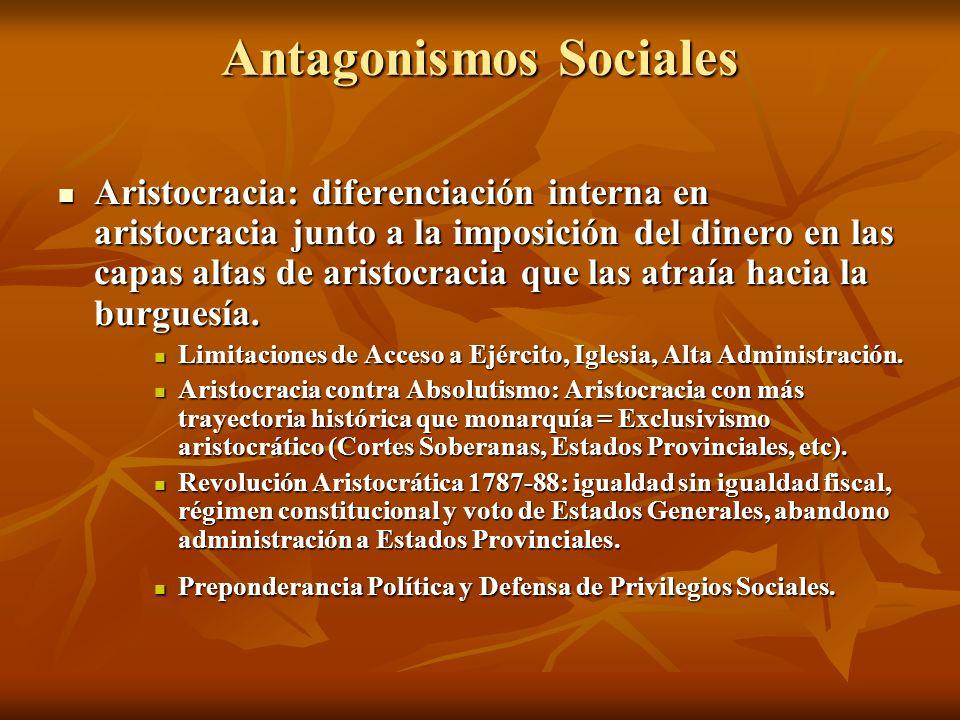 Antagonismos Sociales Aristocracia: diferenciación interna en aristocracia junto a la imposición del dinero en las capas altas de aristocracia que las