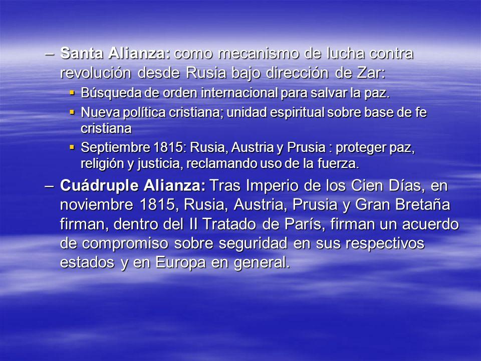 –Santa Alianza: como mecanismo de lucha contra revolución desde Rusia bajo dirección de Zar: Búsqueda de orden internacional para salvar la paz. Búsqu