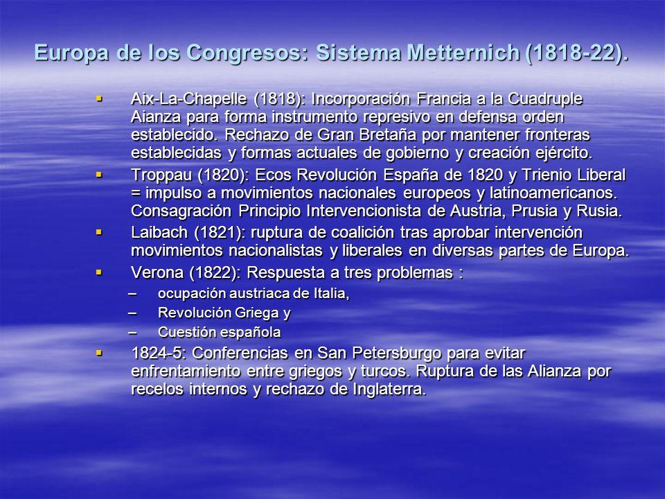 Europa de los Congresos: Sistema Metternich (1818-22). Aix-La-Chapelle (1818): Incorporación Francia a la Cuadruple Aianza para forma instrumento repr