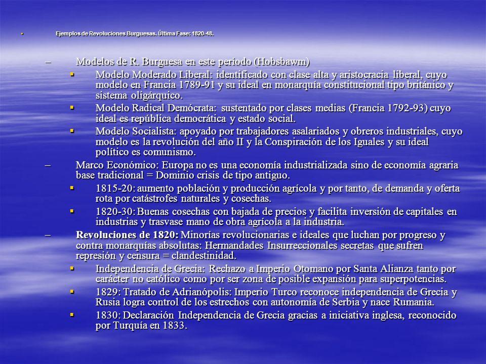 Ejemplos de Revoluciones Burguesas. Última Fase: 1820-48. Ejemplos de Revoluciones Burguesas. Última Fase: 1820-48. –Modelos de R. Burguesa en este pe