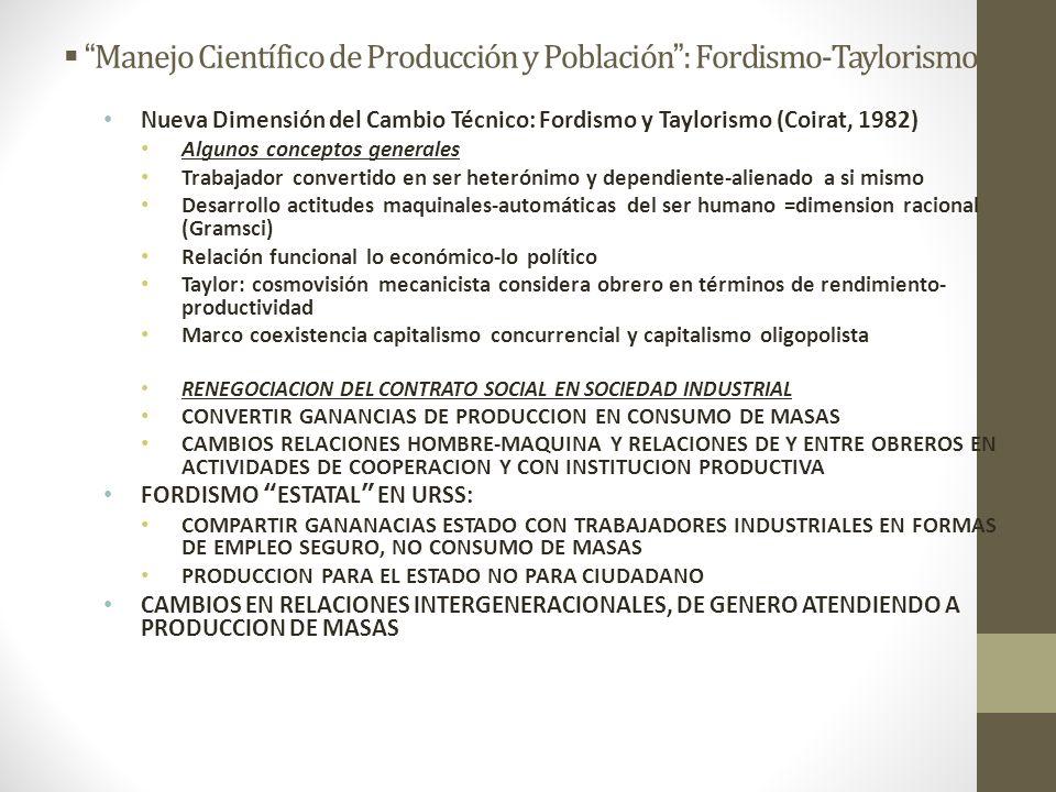 Manejo Científico de Producción y Población : Fordismo-Taylorismo Nueva Dimensión del Cambio Técnico: Fordismo y Taylorismo (Coirat, 1982) Algunos con