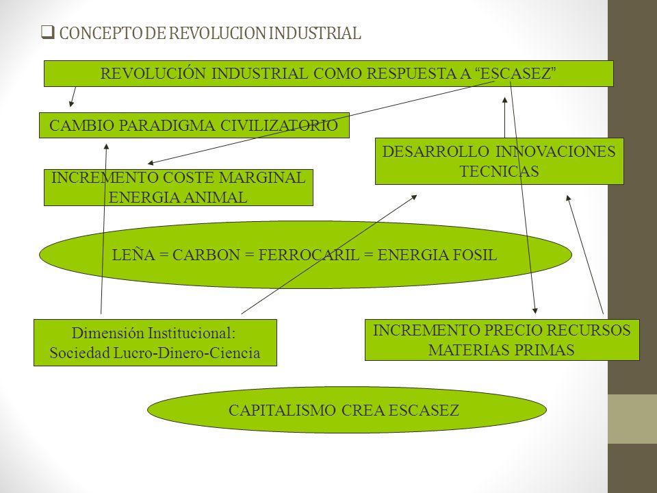 CONCEPTO DE REVOLUCION INDUSTRIAL Reproducción Ampliada Capital Incremento Geométrico Consumo Recursos Aumento Capacidad Energía Contenida en Trabajo = Maquinización = Combustibles Fósiles 1860-1900 = 132 a 710 mill ton.