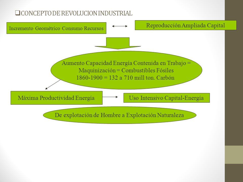 CONCEPTO DE REVOLUCION INDUSTRIAL SIGLO XX: PETROLEO NUEVO FACTOR ACUMULACION CAPITALITA ELECTRICIDAD: MAQUINIZACION ACTIVIDADES DOMESTICAS 1920-50: FACTOR 2 CONSUMO ENERGIA FACTOR 8 CONSUMO ELECTRICIDAD MOTOR EXPLOSION: AUTOMOVIL 1905-38: EEUU, 80 MIL A 30 MILL SOCIEDAD CONSUMO = CONSUMO ABUSO ENERGIA EXOSOMATICO SISTEMA ENTROPICO = DESECONOMIAS CONTAMINACION PAISES SOCIALISTAS: INTENSIFICACION TRABAJO – SUBSIDIO ENERGETICO RECURSOS NATURALES BAJA ENTROPIA USO TEMPORAL
