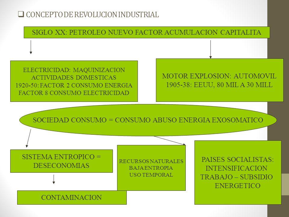 CONCEPTO DE REVOLUCION INDUSTRIAL SIGLO XX: PETROLEO NUEVO FACTOR ACUMULACION CAPITALITA ELECTRICIDAD: MAQUINIZACION ACTIVIDADES DOMESTICAS 1920-50: F