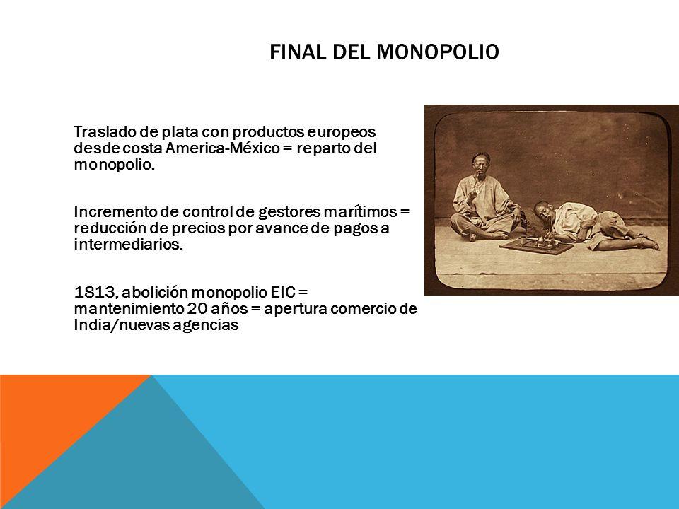 FINAL DEL MONOPOLIO Traslado de plata con productos europeos desde costa America-México = reparto del monopolio. Incremento de control de gestores mar
