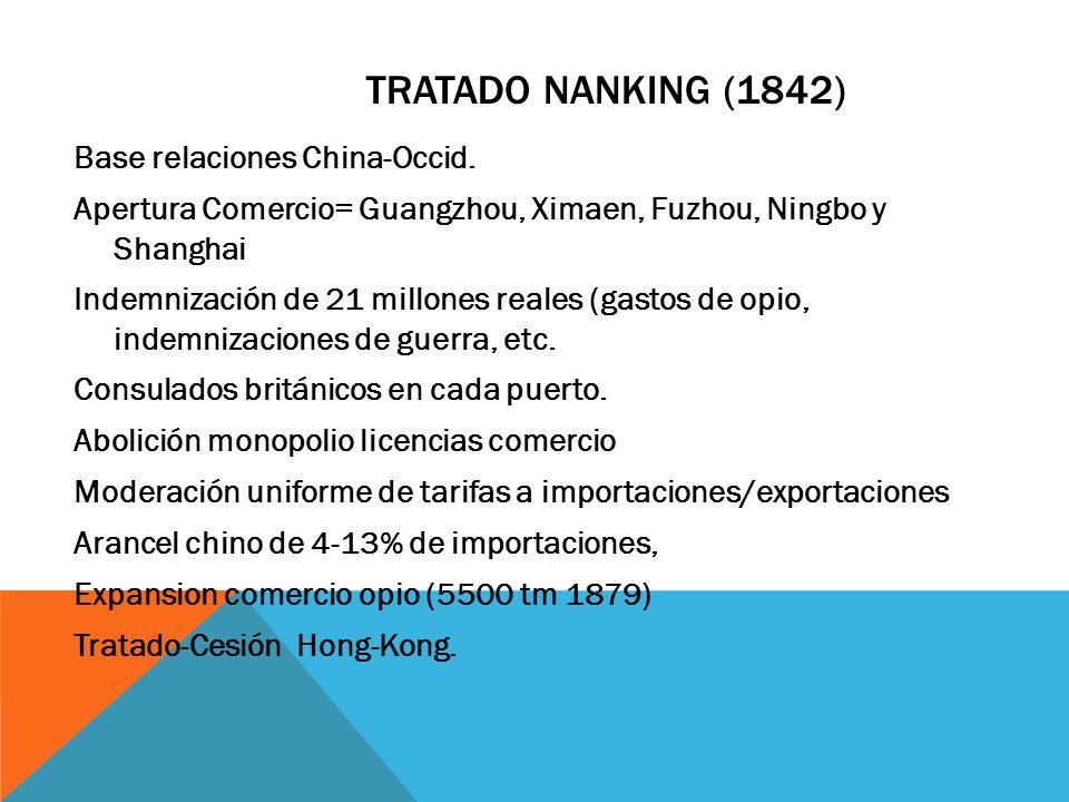 TRATADO NANKING (1842) Base relaciones China-Occid. Apertura Comercio= Guangzhou, Ximaen, Fuzhou, Ningbo y Shanghai Indemnización de 21 millones reale