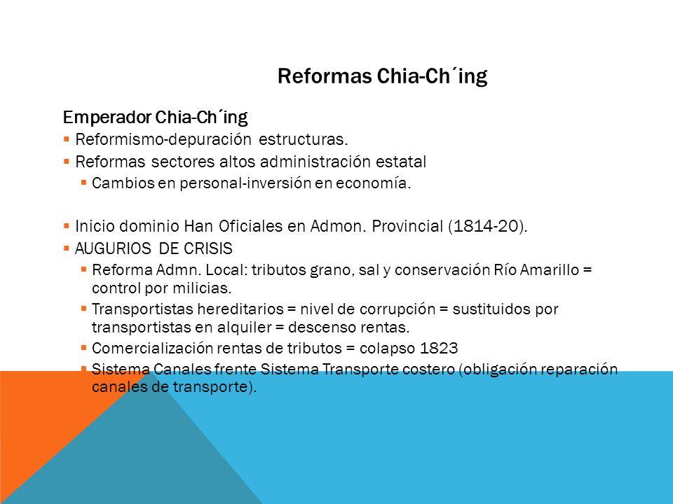 Reformas Chia-Ch´ing Emperador Chia-Ch´ing Reformismo-depuración estructuras. Reformas sectores altos administración estatal Cambios en personal-inver