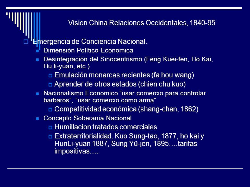 Vision China Relaciones Occidentales, 1840-95 Emergencia de Conciencia Nacional. Dimensión Político-Economica Desintegración del Sinocentrismo (Feng K
