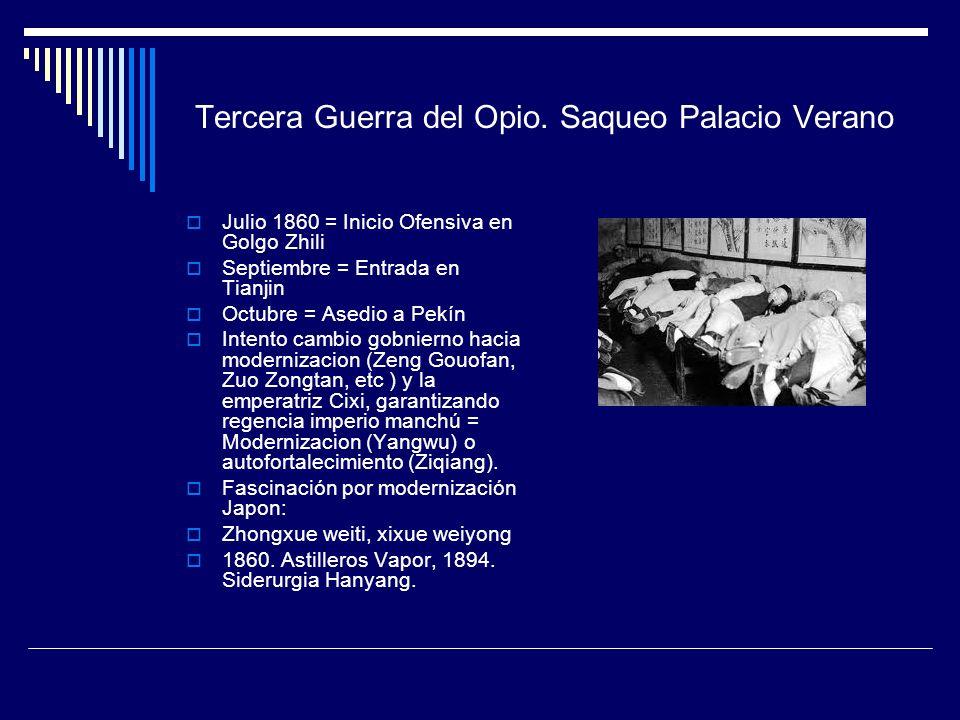 Tercera Guerra del Opio. Saqueo Palacio Verano Julio 1860 = Inicio Ofensiva en Golgo Zhili Septiembre = Entrada en Tianjin Octubre = Asedio a Pekín In