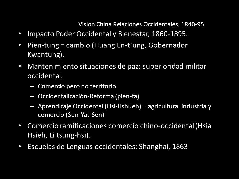 Impacto Poder Occidental y Bienestar, 1860-1895. Pien-tung = cambio (Huang En-t`ung, Gobernador Kwantung). Mantenimiento situaciones de paz: superiori