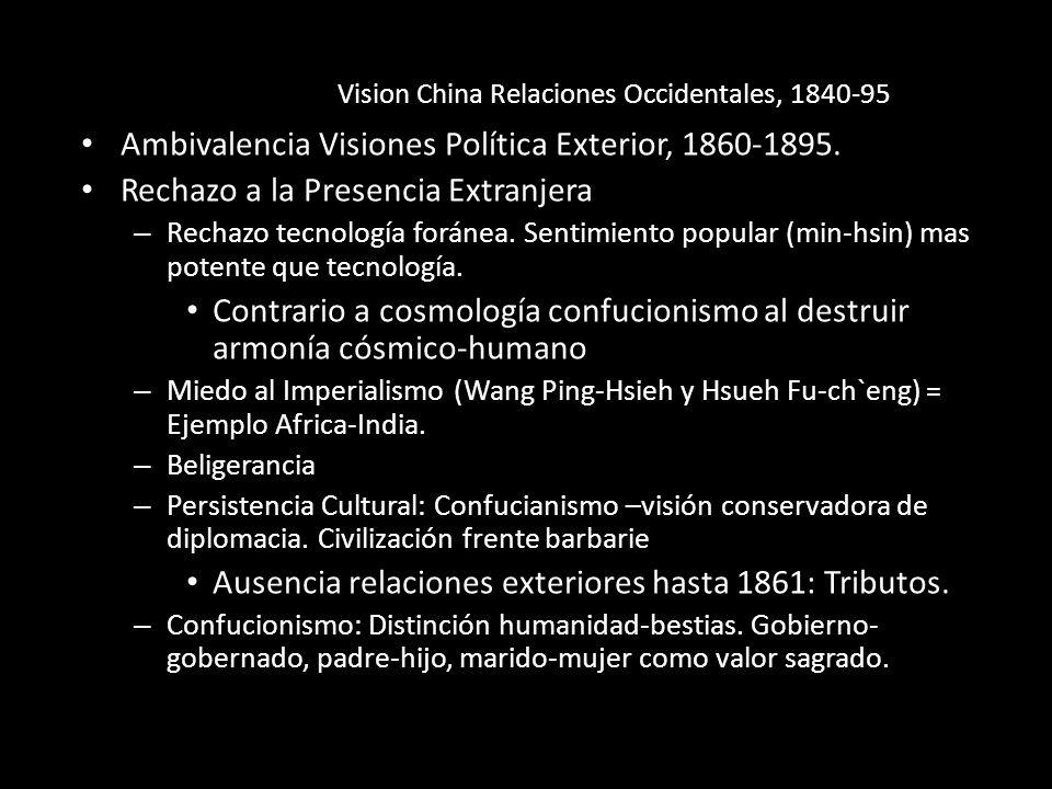 Vision China Relaciones Occidentales, 1840-95 Ambivalencia Visiones Política Exterior, 1860-1895. Rechazo a la Presencia Extranjera – Rechazo tecnolog