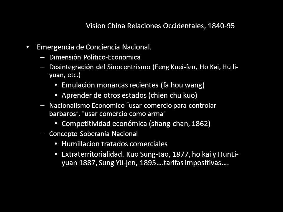 Vision China Relaciones Occidentales, 1840-95 Emergencia de Conciencia Nacional. – Dimensión Político-Economica – Desintegración del Sinocentrismo (Fe