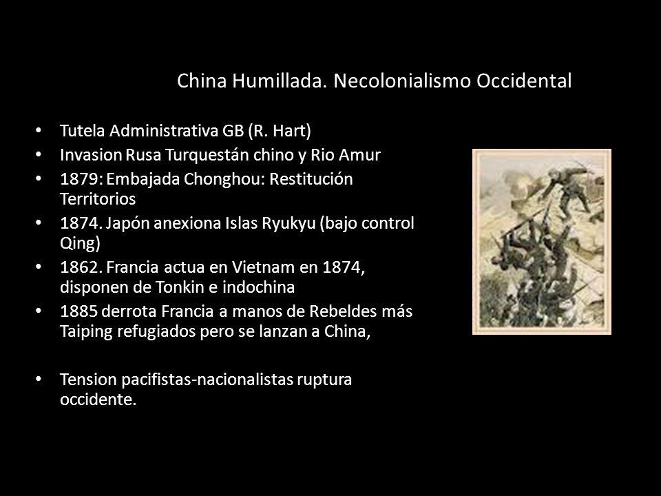 China Humillada. Necolonialismo Occidental Tutela Administrativa GB (R. Hart) Invasion Rusa Turquestán chino y Rio Amur 1879: Embajada Chonghou: Resti