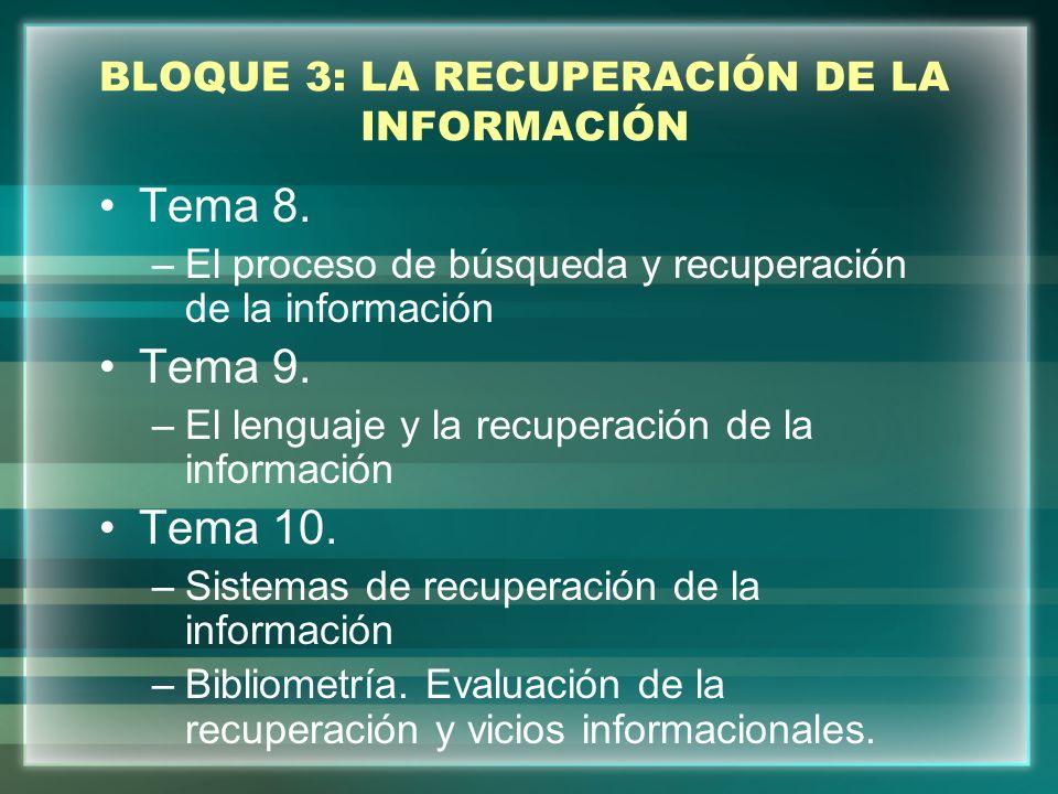 BLOQUE 3: LA RECUPERACIÓN DE LA INFORMACIÓN Tema 11.