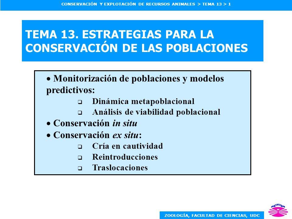 ZOOLOGÍA, FACULTAD DE CIENCIAS, UDC CONSERVACIÓN Y EXPLOTACIÓN DE RECURSOS ANIMALES > TEMA 13 > 1 TEMA 13. ESTRATEGIAS PARA LA CONSERVACIÓN DE LAS POB