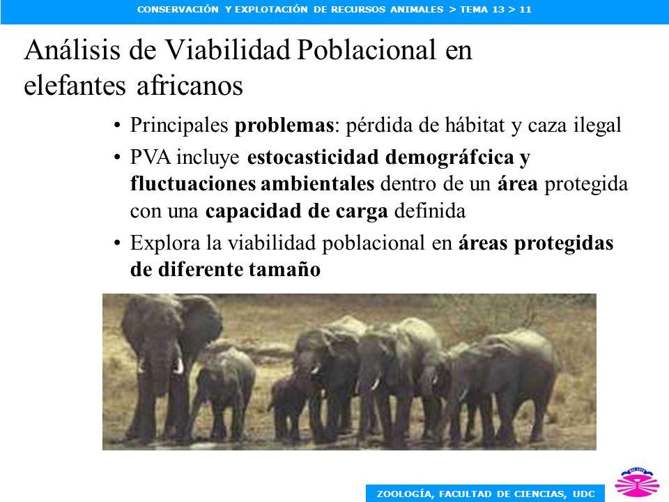 ZOOLOGÍA, FACULTAD DE CIENCIAS, UDC CONSERVACIÓN Y EXPLOTACIÓN DE RECURSOS ANIMALES > TEMA 13 > 11 Análisis de Viabilidad Poblacional en elefantes afr
