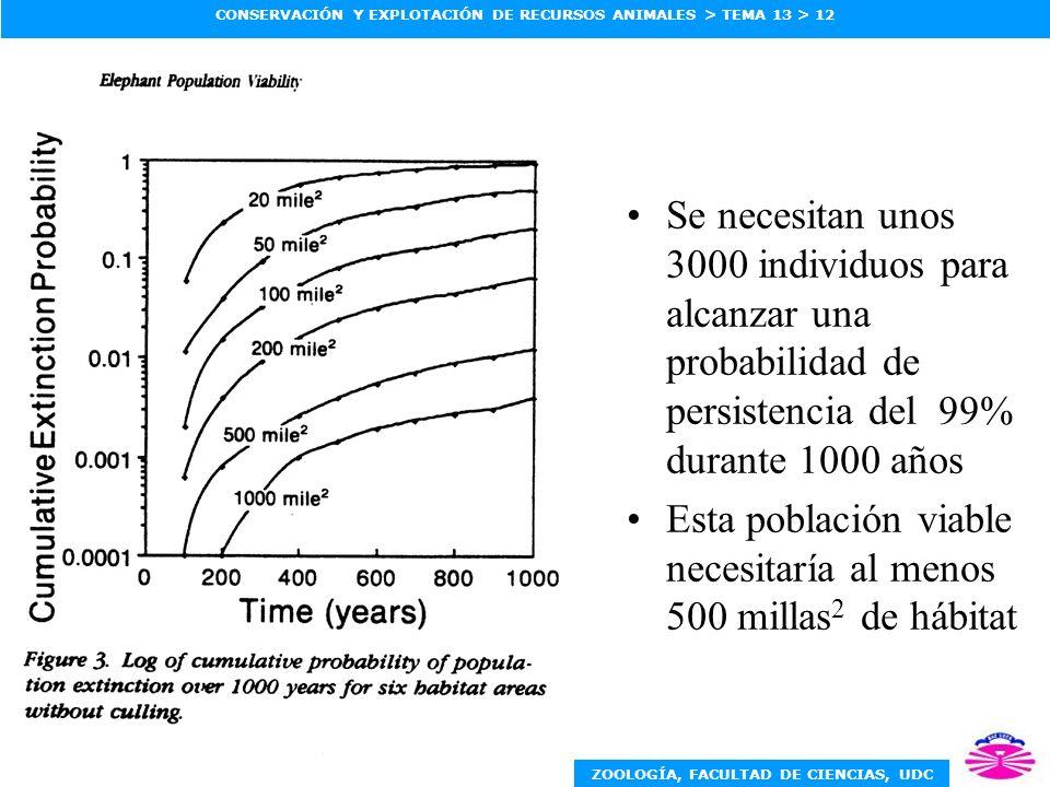 ZOOLOGÍA, FACULTAD DE CIENCIAS, UDC CONSERVACIÓN Y EXPLOTACIÓN DE RECURSOS ANIMALES > TEMA 13 > 12 Se necesitan unos 3000 individuos para alcanzar una