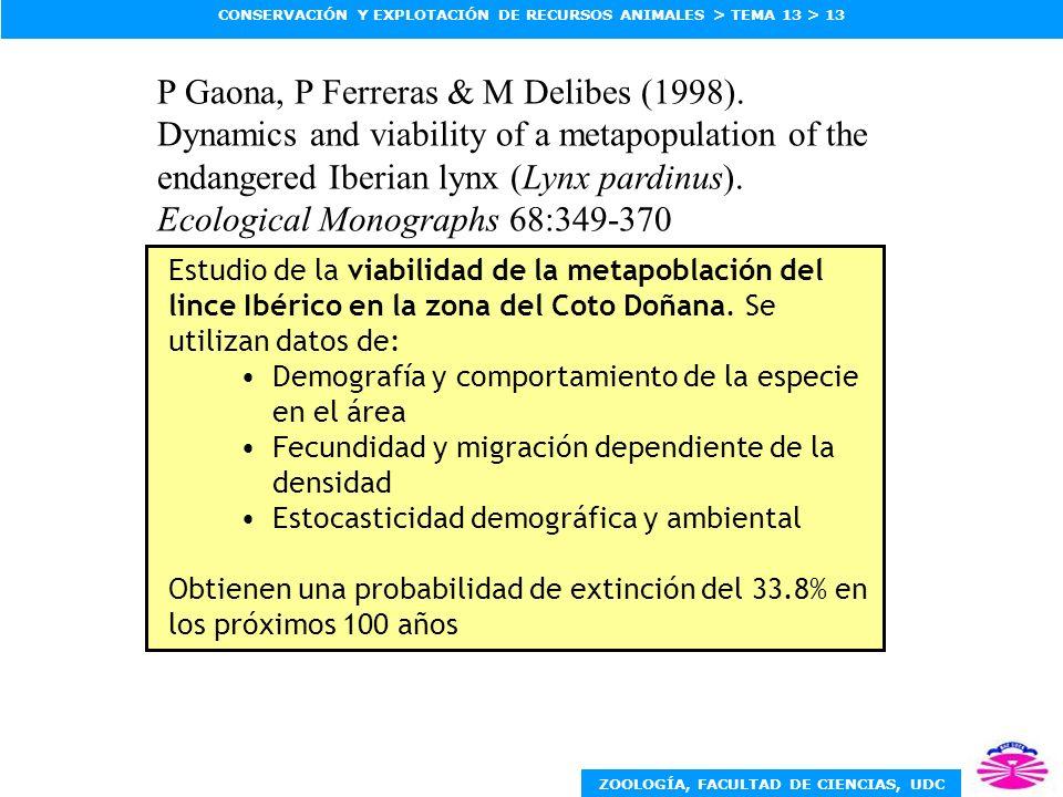 ZOOLOGÍA, FACULTAD DE CIENCIAS, UDC CONSERVACIÓN Y EXPLOTACIÓN DE RECURSOS ANIMALES > TEMA 13 > 13 Estudio de la viabilidad de la metapoblación del li