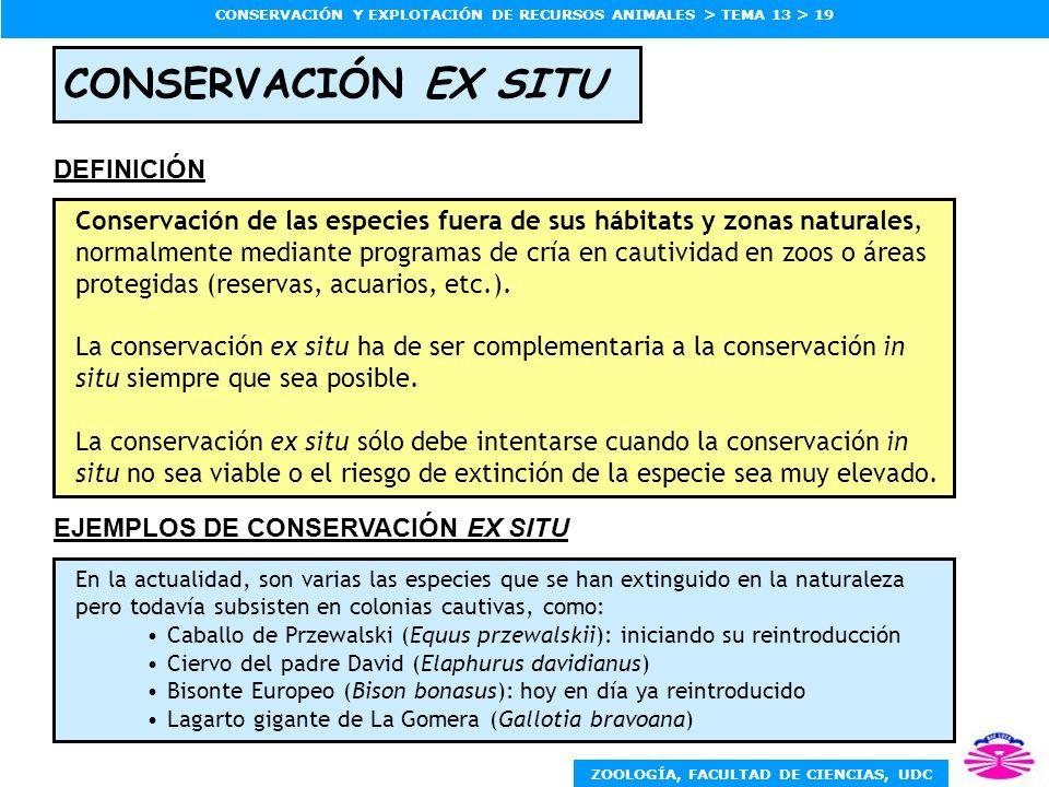 ZOOLOGÍA, FACULTAD DE CIENCIAS, UDC CONSERVACIÓN Y EXPLOTACIÓN DE RECURSOS ANIMALES > TEMA 13 > 19 CONSERVACIÓN EX SITU Conservación de las especies f